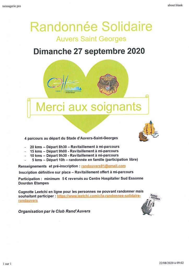 Randonnée Solidaire le dimanche 27 septembre